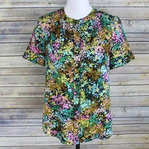 J. Crew Technicolor Floral Top 100% Silk